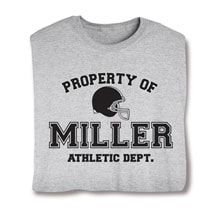"""Personalized Property of """"Your Name""""  Football T-Shirt"""