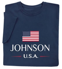 """Personalized """"Your Name"""" USA National Flag Shirt"""