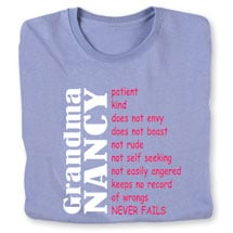 "Personalized ""Your Name"" Grandma Positive Attributes Shirt"