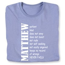 """Personalized """"Your Name"""" Positive Attributes Shirt"""