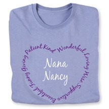 """Personalized """"Your Name"""" Heart Shaped Attributes Shirt - Two Lines"""