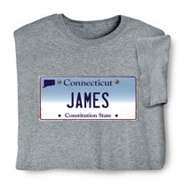 Personalized State License Plate Shirts - Connecticut