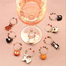 Cat Wine Charms With Tree