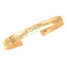 Philippians 4:13 Cuff Bracelet - 14K Gold