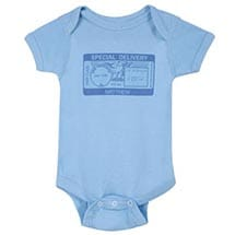 "Personalized ""Special Delivery"" Postmark One-Piece Bodysuit - Blue"