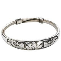 Silvery Bangles - Koi With Lotus