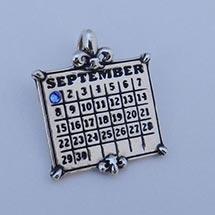 Personalized Calendar Fleur De Lis Sterling Silver Charm