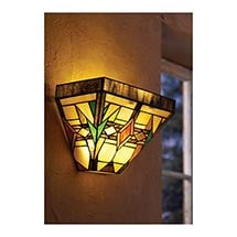 Battery-Operated Tiffany-Style Stained Glass Wall Sconces with Remote