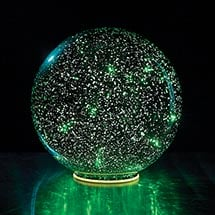 Lighted Mercury Glass Sphere - Green