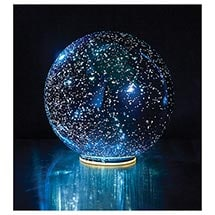 Lighted Mercury Glass Sphere - Blue