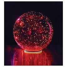 Lighted Mercury Glass Sphere - Red