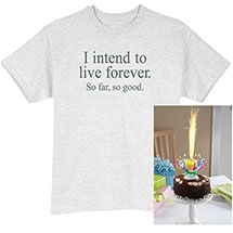 Musical Spinning Birthday Candle and Live Forever Unisex Adult T-Shirt Set