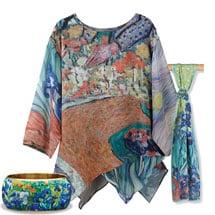 Van Gogh Tunic with Irises Bangle and Scarf