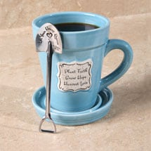 Plant Faith Flowerpot Mug with Spade-Shaped Spoon