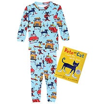 Pete the Cat Gift Set 100% Cotton Blue Pajamas and Hardcover Book