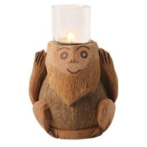 Wise Monkeys Coconut Tea Light Holders - Set of 3