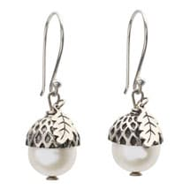 Sterling Silver and Pearl Acorn Earrings - White