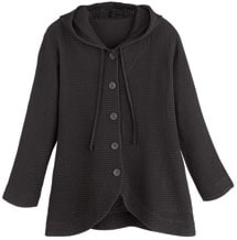 Hooded Button-Front Waffle Jacket
