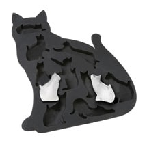 Cat Lover's Kitty Shaped Silicone Ice Cube Tray - Black