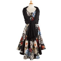Peonies Trapeze Dress and Coordinating Scarf