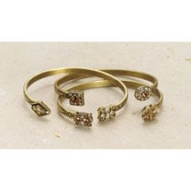 Bejeweled Victorian Charms Jewelry - Set of 3 Bracelets