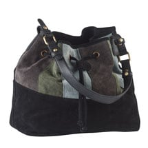 Colorblock Suede Drawstring Handbag