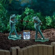 Frogs and Firefly Lantern Garden Sculpture