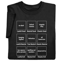 Grammar Rules Alignment Chart Shirts