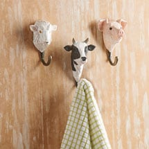 Hand-Carved Farm Animal Wall Hooks