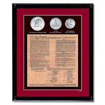 Framed U.S. Constitution With All 3 Bicentennial Coins