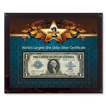 World's Largest Silver Certificate- 8X10 Plastic