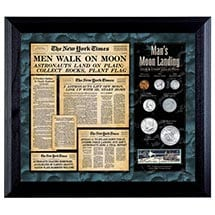 New York Times Man Lands On The Moon Coin & Stamp Collection