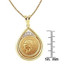 "$2.50 Indian Head Gold Piece Quarter Eagle Coin In 14K Gold Teardrop Pendant W/Diamonds (18"" - 14K Gold Rope Chain)"