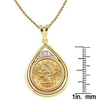 "$2.50 Liberty Gold Piece Quarter Eagle Coin In 14K Gold Teardrop Pendant W/Diamonds (18"" - 14K Gold Rope Chain)"