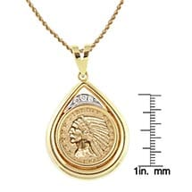 "$5 Indian Head Gold Piece Half Eagle Coin In 14K Gold Teardrop Pendant W/Diamonds (18"" - 14K Gold Rope Chain)"