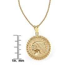 "$5 Indian Head Gold Piece Half Eagle Coin In 14K Gold Rope Bezel (18"" - 14K Gold Rope Chain)"