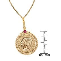 "$5 Indian Head Gold Piece Half Eagle Coin In 14K Gold Twisted Rope Bezel W/Ruby (18"" - 14K Gold Rope Chain)"