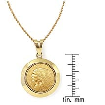 "$2.50 Indian Head Gold Piece Quarter Eagle Coin In 14K Dome Shape Bezel (18"" - 14K Gold Rope Chain)"