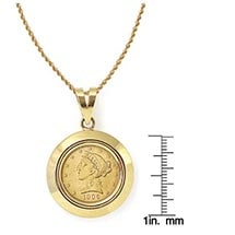 "$5 Liberty Gold Piece Half Eagle Coin In 14K Dome Shape Bezel (18"" - 14K Gold Rope Chain)"