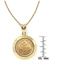 "French 20 Franc Lucky Angel Gold Piece Coin In 14K Dome Shape Bezel (18"" - 14K Gold Rope Chain)"