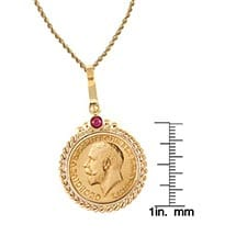 "King George V Gold Sovereign Coin In 14K Gold Twisted Rope Bezel W/Ruby (18"" - 14K Gold Rope Chain)"