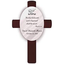 Personalized Baptism Cross - Mark 16:16