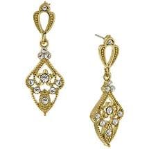 Downton Abbey Gold Tone Crystal Drop Earrings