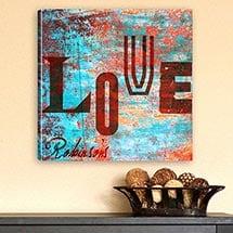 Watercolor Love Canvas Print - Graffiti Style Love
