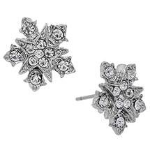 Downton Abbey Silver Tone Starburst Crystal Button Earrings