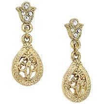 Downton Abbey Gold Tone Filigree Crystal Teardrop Earrings