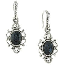 Downton Abbey Silver Tone Blue Sapphire Crystal Oval Drop Earrings