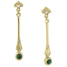 Downton Abbey Gold Tone Emerald Crystal Linear Drop Earrings