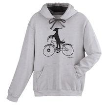 Cycling Dog Striped Hooded Sweatshirt