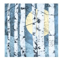 Personalized Full Moon and Birches Print